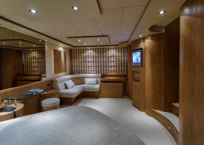Italy, Fiumicino (Rome), Alfamarine 78 luxury yacht, master bedroom